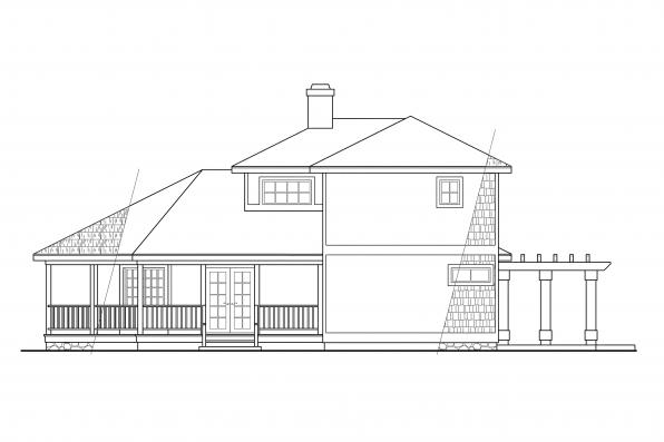Shingle Style House Plan - Lakeview 10-079 - Left Elevation