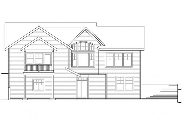 Sloped Lot House Plan - Keystone 30-597 - Rear Elevation