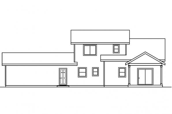 Sloped Lot House Plan - Mathis 30-475 - Rear Elevation