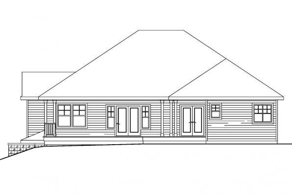 Sloping Lot House Plan - Pennington 30-602 - Rear Elevation