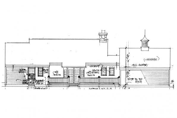 Small House Plan - Ayersville 42-002 - Rear Elevation