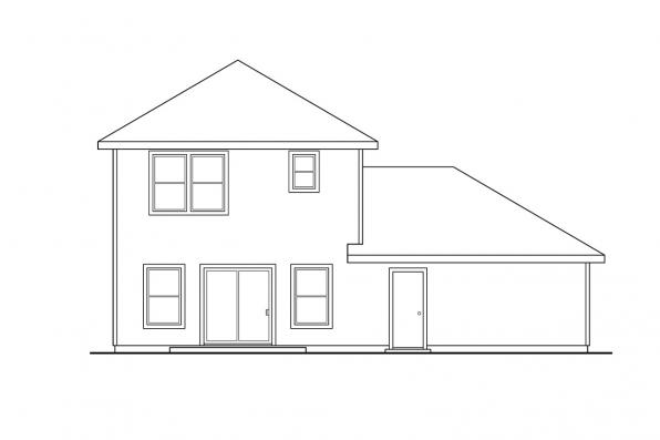 Small House Plan - Baywood 30-118 - Rear Elevation