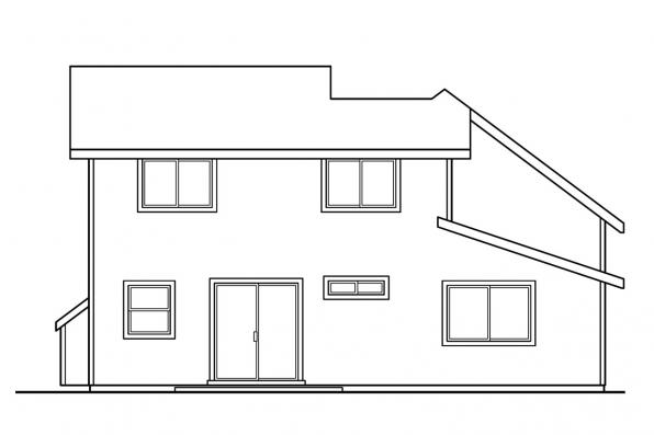 Small House Plan - Elkins 30-466 - Rear Elevation