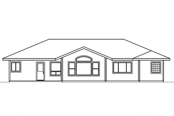 Small House Plan - Paxton 30-320 - Rear Elevation