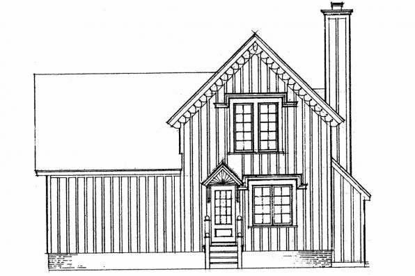 Small House Plan - Pearson 42-013 - Rear Elevation