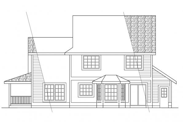 Small House Plan - Prescott 10-260 - Rear Elevation