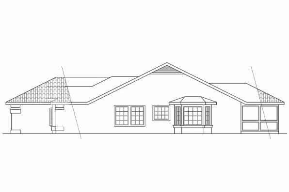 Southwest House Plan - Alessandro 11-077 - Left Elevation