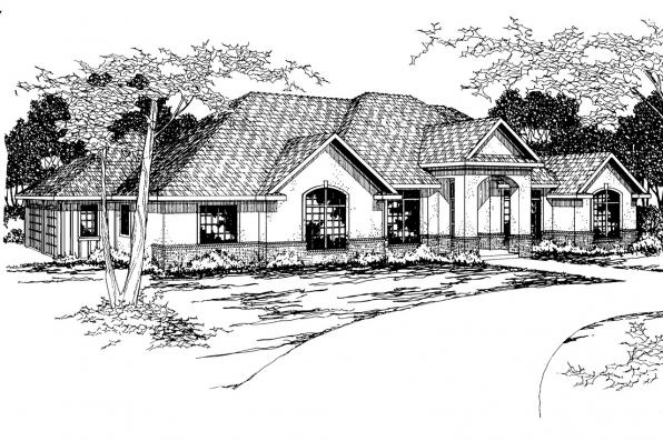 Southwest House Plan - Barstow 30-050 - Front Elevation