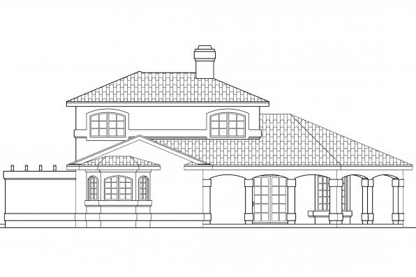 Southwest House Plan - Lauderdale 11-037 - Right Elevation
