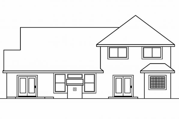 Southwest House Plan - Mansura 30-188 - Rear Elevation