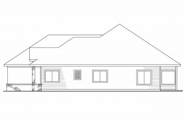 Southwest House Plan - Palermo 30-160 - Left Elevation