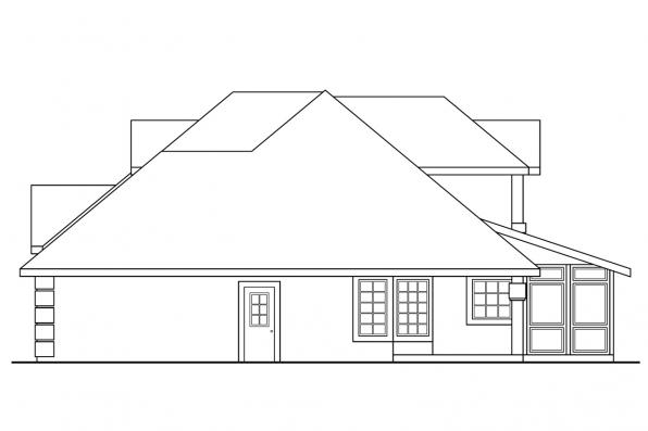 Southwest House Plan - San Antonio 11-053 - Left Elevation