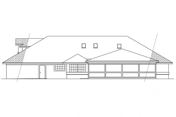 Southwest House Plan - Santa Maria 11-033 - Rear Elevation