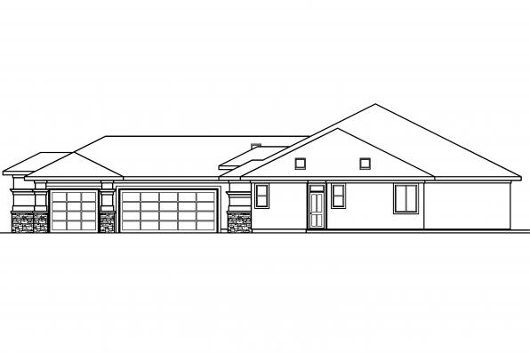 Southwest House Plan - Suncrest 30-499 - Left Elevation