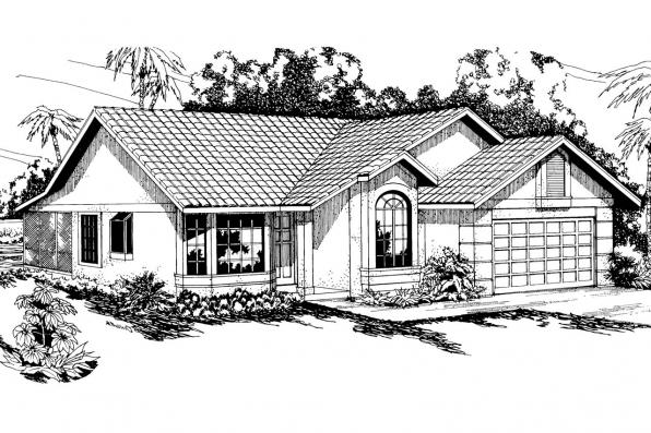 Spanish Style House Plan - Arcadia 11-003 - Front Elevation