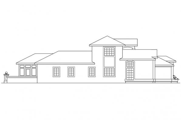 Spanish Style House Plan - Roswell 11-086 -  Right Elevation