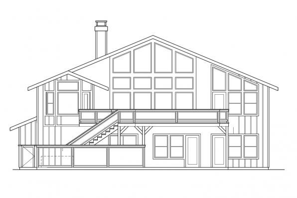 Split Level House Plan - Catkin 30-152 - Rear Elevation