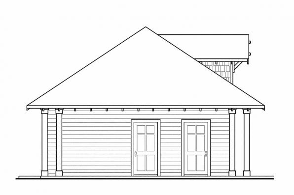 Three Car Garage Plan 20-033 - Right Elevation