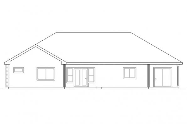 Traditional Home Plan - Midland 30-052 - Rear Elevation