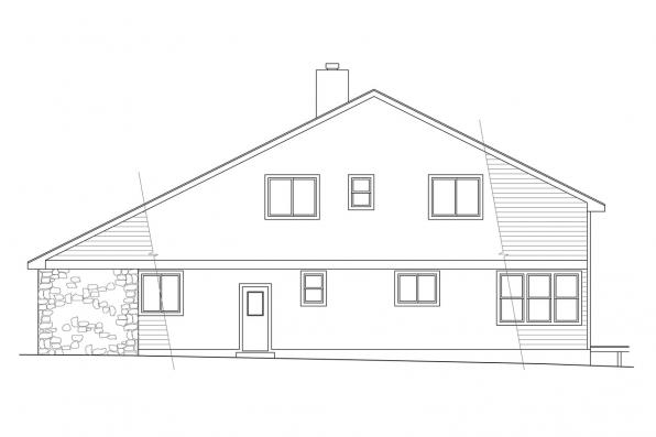 Traditional House Plan - Brazos 51-001 - Left Elevation
