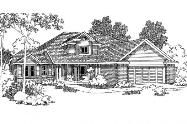 Traditional House Plan - Chivington 30-260 - Front Elevation