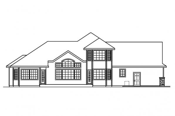 Traditional House Plan - Crestwick 30-425 - Rear Elevation