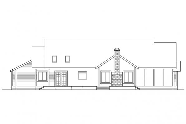 Traditional House Plan - Lasson 10-203 - Rear Elevation