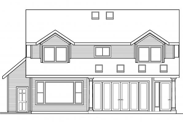 Traditional House Plan - Marion 30-174 - Rear Elevation