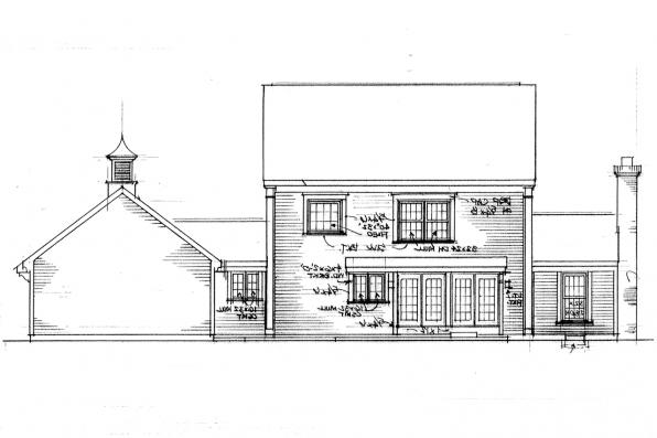Traditional House Plan - Maumee 42-007 - Rear Elevation