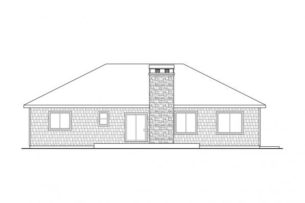 Traditional House Plan - Red Oak 30-922 - Rear Elevation