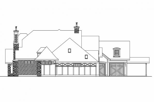 Tudor House Plan - Picardie Villa 30-676 - Left Elevation