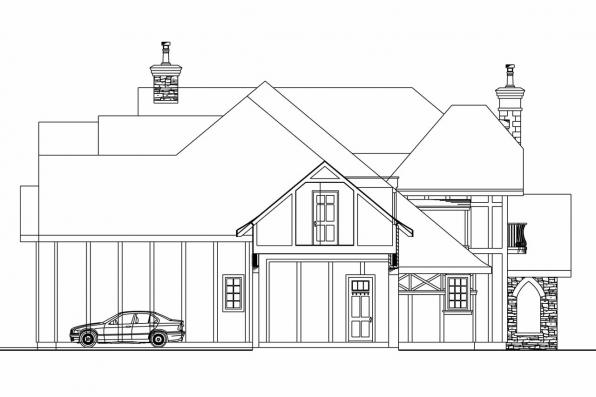 Tudor House Plan - Picardie Villa 30-676 - Right Elevation