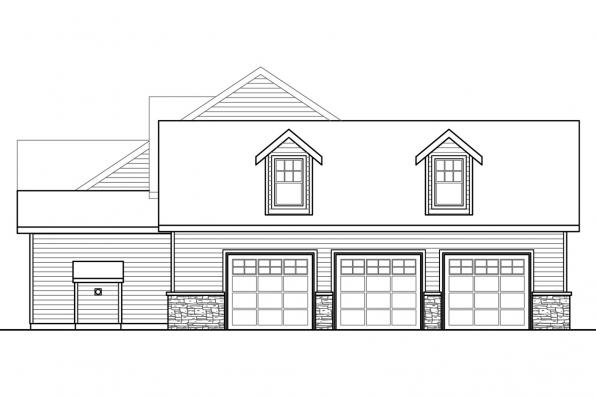 Two Story House Plan - Pronghorn 30-917 - Right Elevation