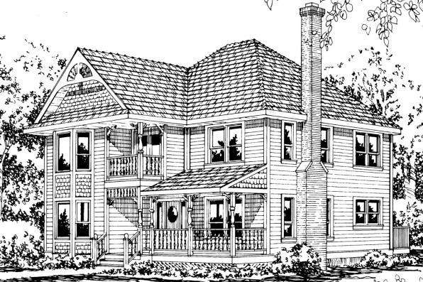 Victorian House Plan - Astoria 41-009 - Front Elevation