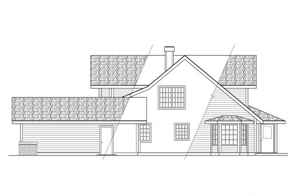 Victorian House Plan - Trinity 10-211 - Left Elevation