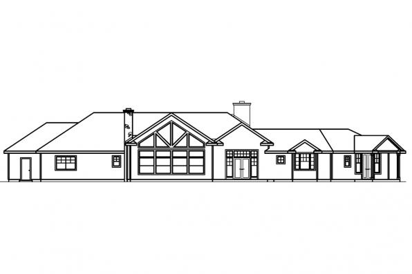 View Lot House Plan - Bellewood 30-292 - Rear Elevation