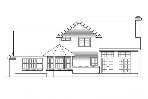 View Lot House Plan - Charleston 10-252 - Rear Elevation