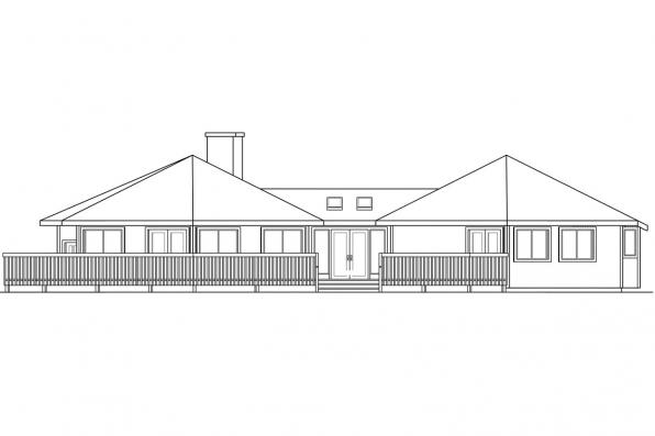 View Lot House Plan - Encino 10-016 - Right Elevation