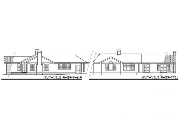 View Lot House Plan - Linwood 10-039 - Rear Elevation