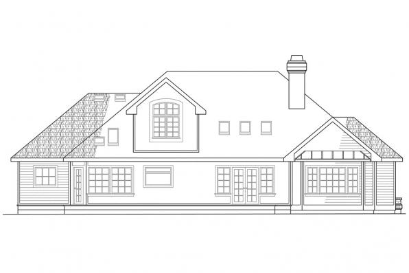 View Lot House Plan - Melrose 10-047 - Rear Elevation