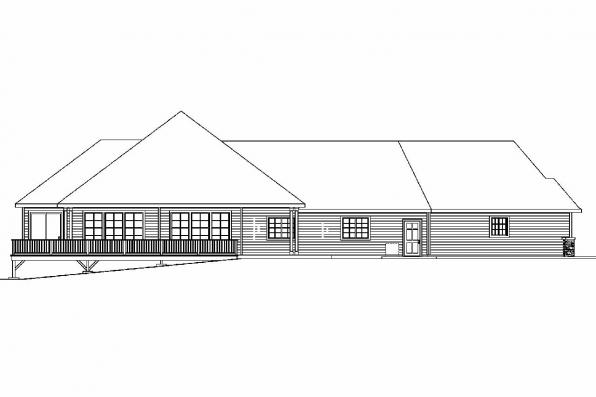 View Lot House Plan - Ramsbury 30-585 - Rear Elevation