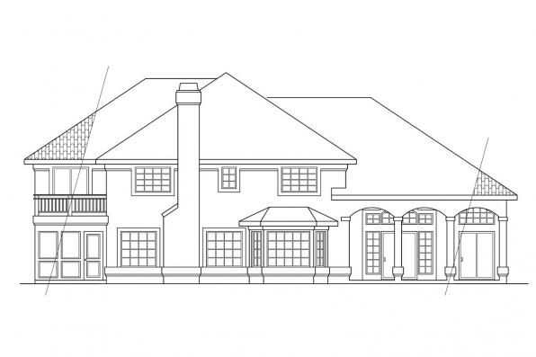 View Lot House Plan - Stanfield 11-084 - Rear Elevation