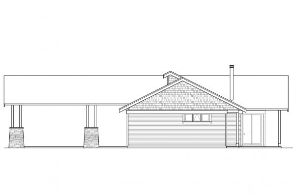 View Lot House Plan - Tetherow 31-019 - Left Elevation