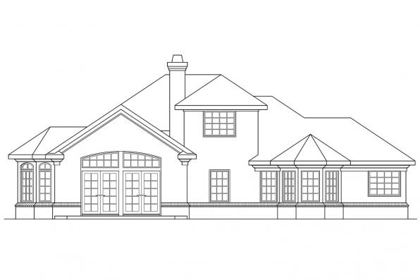 View Lot House Plan - Wichita 10-254 - Rear Elevation