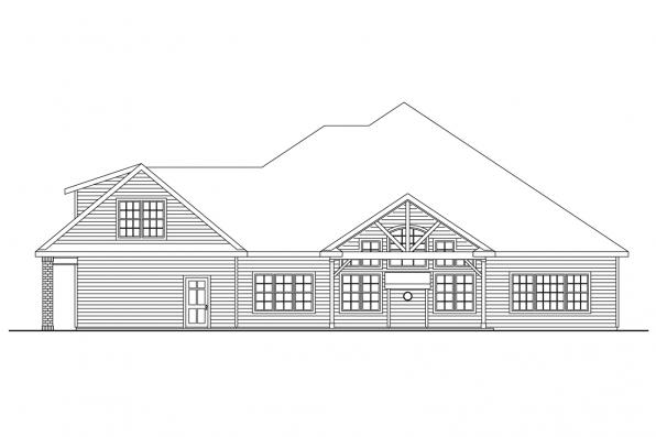 View Lot House Plan - Fairbanks 30-648 - Rear Elevation