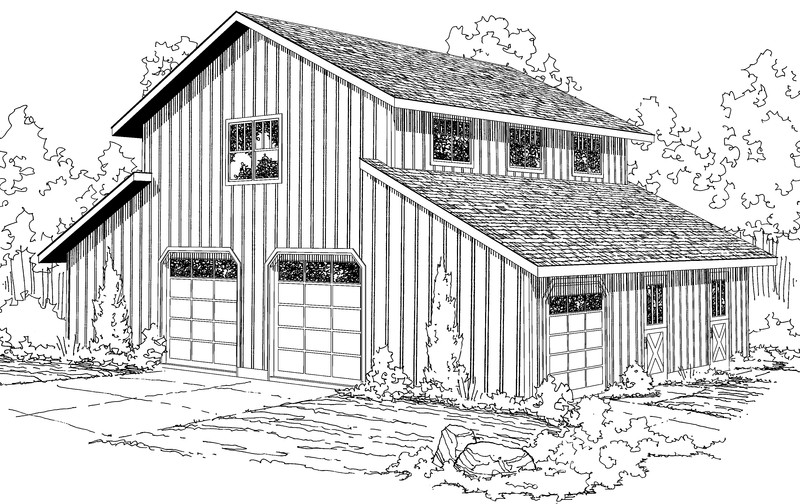 Machine shed with living quarters plans must see desk work for Live in barn plans