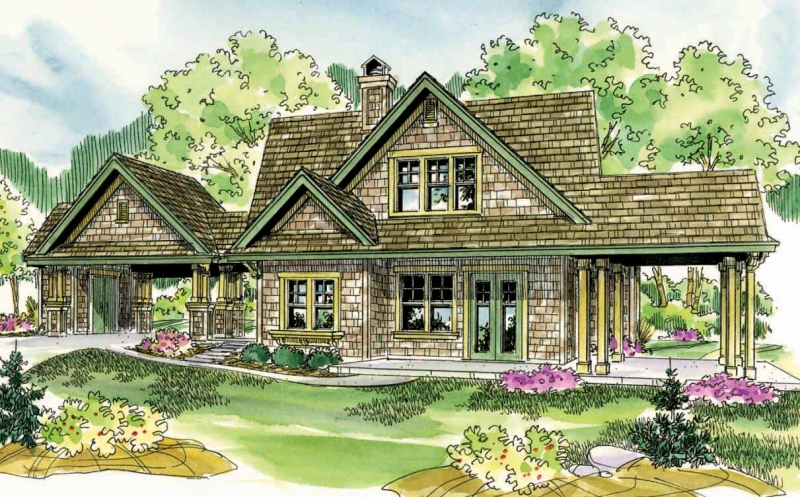 Houzz one story shingle style lake home joy studio for Shingle house plans