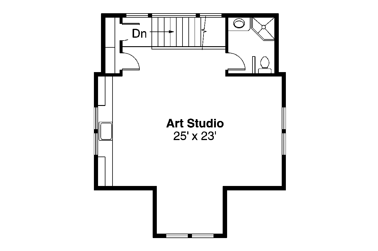Craftsman house plans garage w studio 20 007 associated designs Story floor plans with garage collection
