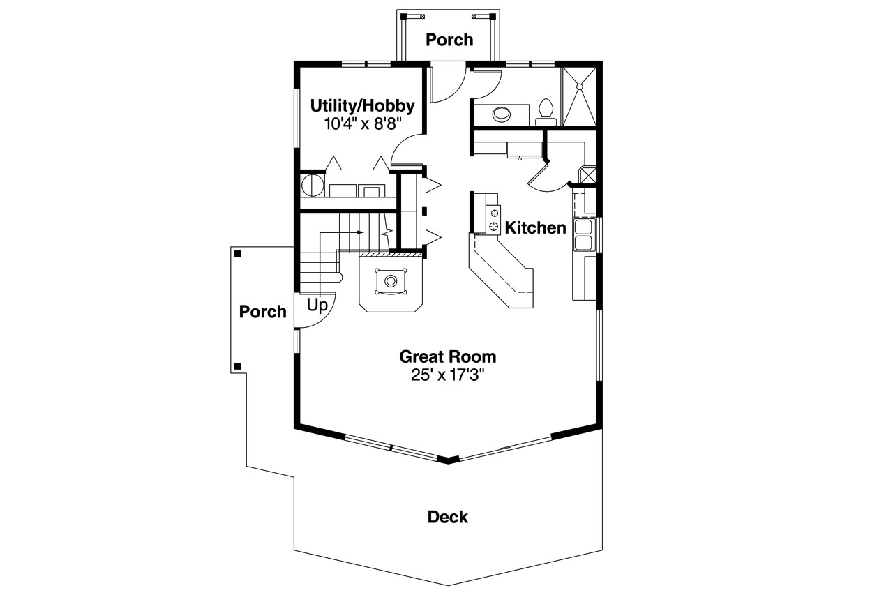 A Frame Home Plan   Arnett 30 419   1st Floor Plan ...