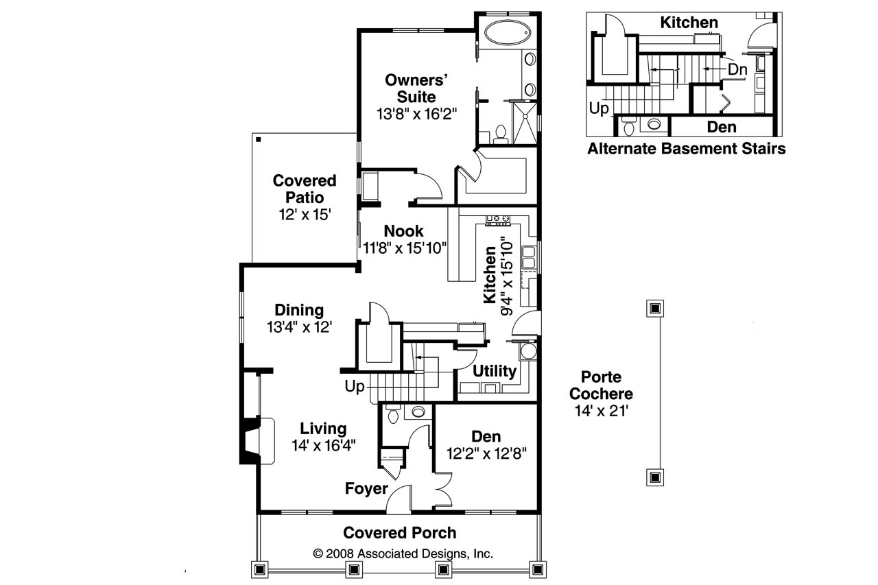 Bungalow House Plans - Markham 30-575 - Associated Designs
